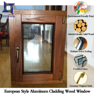 Oak Wood Aluminum Tilt Turn Window for Europe Villa, Popular Finished Aluminum Tilt Window with Double Glass pictures & photos