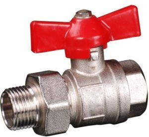 Brass Ball Valve with Connector Aluminium Butterfly Handle (YED-A1013)