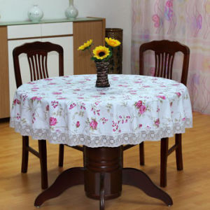 Custom Printed Lace Table Cloth Floral Table Linen pictures & photos