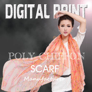 Digital Textile Printing on Scarf with Color Gradient Design (X1089) pictures & photos
