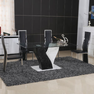 Modern Home Glass Metal Dining Room Table Furniture Set (ET50-1 & EC21-1) pictures & photos