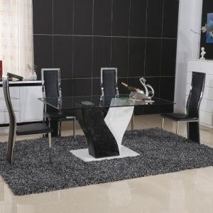 Modern Home Glass Metal Dining Room Table Furniture Set (ET50-1 & EC21-1)