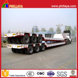 3axles 100tons Lowbed Semi Truck Heavy Duty Low Boy Trailer pictures & photos