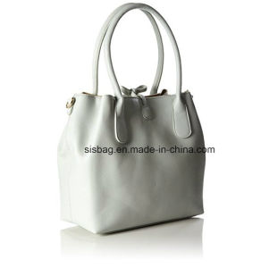 High Quality Two-Tone Women Bag Pure Color Tote Bucket Bag pictures & photos