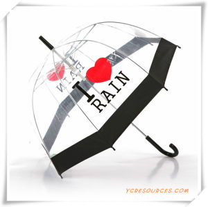 Black Edge Transparent Straight Umbrella for Promotion (OS11005) pictures & photos