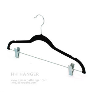 with Clips Velvet Pants Hanger Plastic Hanger pictures & photos