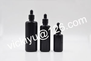 30ml, 50ml 100ml High Quality Black Glass Lotion Bottles, Serum Glass Bottles with Pump/Dropper pictures & photos