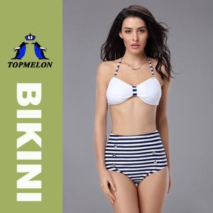 New Women′s Retro High Waist Push up Padded Polka Dots Bikini Set Swimwear (T132C)