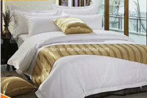 Hotel Collection Bed Sheet Set in White1cm Stripe pictures & photos