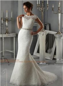 2015 off-Shouder Lace Crystal Brial Wedding Dresses (WD5268) pictures & photos