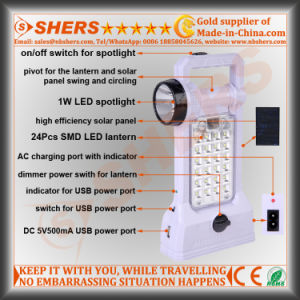 Solar LED Light with Camping Lantern, Desk Lamp, USB Outlet pictures & photos