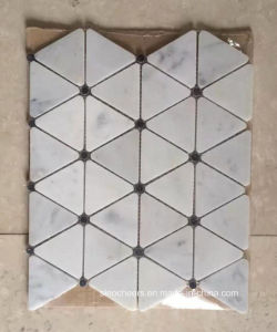 Carrara White Triangle Shape Mosaic Tile with Black Dots pictures & photos