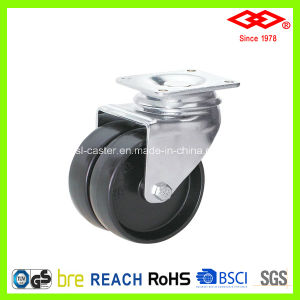 Black Plastic Twin Wheel Caster (P190-20B075X23D) pictures & photos
