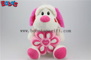 Lovely Cuddly Sitting Plush Puppy Animal Toy with Pink Flower Pillow Bos1164 pictures & photos