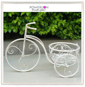 Antique White Wrought Iron Bicycle Plant Stand (PL08-5827)