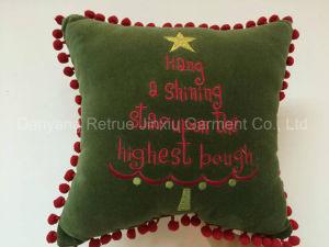 Green Handmade Embroidery Nylon Decorative Christmas Cushion Pillow