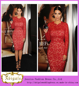 Custom Made Sheath Jewel Knee Length Lace Celebrity Dresses (SR75) pictures & photos