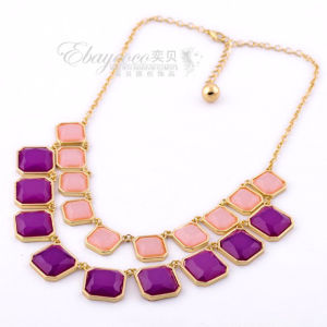New Fashion Jewelry Zinc Alloy with Resin Geometric Multilayer Necklace (MJ-SJ-6654)