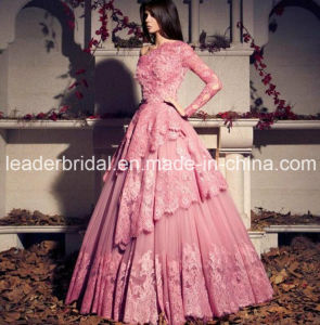 One Sleeves Pink Wedding Dress Abraic Alencon Lace Bridal Wedding Gown Ld15262 pictures & photos