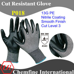 13G PE Knitted Glove with Nitrile Smooth Coated Palm/ En388: 4543 pictures & photos
