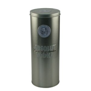 Embossing-Letter Round Tin Wine Box with Cover --Nc2530