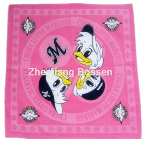 OEM Produce Customized Cartoon Logo Printed Cotton Head Wrap Scarf pictures & photos