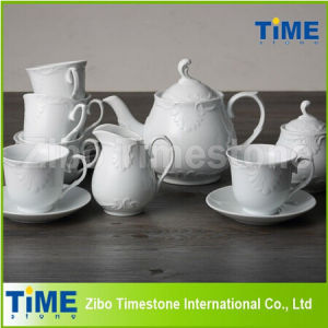 Embossed White Ceramic Tea Set Made in China pictures & photos