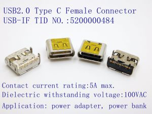 USB2.0 Type C Connector, Current Rating~5A, Durability: 20000 Cycles. OEM/ODM pictures & photos