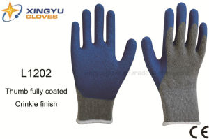10g T/C Brushed Shell Latex Crinkle Safety Work Glove with Thumb Fully Coating (L1202) pictures & photos