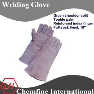 Grey Shoulder Split, Double Palm and Reinforced Index Finger, Full Sock Lined Leather Welding Glove pictures & photos