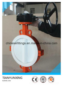 Cast Iron Body PTFE Lined Wafer Butterfly Valve pictures & photos
