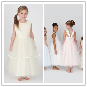 New Cute Tulle Sleeveless Scoop Flower Long Length Flower Girl Dress 2014 (WJ0022)