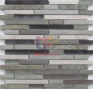 Strip Design Aluminium Mix Glass and Quartz Mosaic (CFA105) pictures & photos