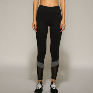 Sport Fitness Mesh Legging Comfortable High Stretch Black Yoga Pants with Grey Patch pictures & photos