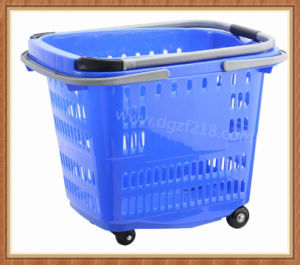 50L Superior Colored Plastic Trolley Shopping Supermarket Basket for Sale pictures & photos