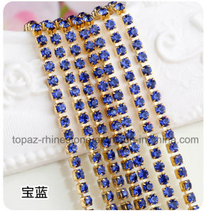 3mm Ss12 Golden Close Sewing Chain Strass Chain Round Cup Chain Crystal Rhinestone Chain (TCG-3mm sapphire) pictures & photos