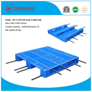 1100*1100*155mm HDPE Plastic Tray Warehouse Storage Heavy Duty 4 Way Racking Loading Grid Plastic Pallet with 3 Runners (ZG-1111B 8 steel) pictures & photos