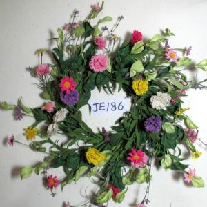 Je186 Spring Colorful Handmade Foam & Linen Flower Wreath Artificial Flowers