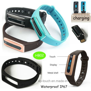 USB Pen Drive Charging Bluetooth Smart Bracelet with Heart Rate Monitoring (HB02) pictures & photos