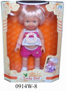 Shot Hair Girl Doll Toys with Music (0914W-8)