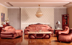 Living Room Furniture Leather Rosewood Wooden Sofa (3301)