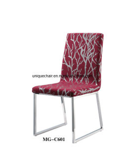 Stainless Steel Leg Red Fabric Dining Chair (MG-C601)