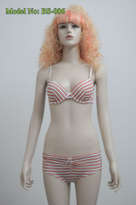 Coral and White Strap Bikini Underwear Set (BS-006)