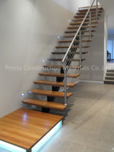 Modern Open Riser Stairs with Double Steel Stringer and Glass Railing pictures & photos