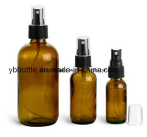 Glass Bottles, Amber Glass Rounds W/ Black Fine Mist Sprayers