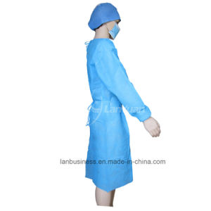 PP Blue Isolation Gown with Elastic Cuffs pictures & photos