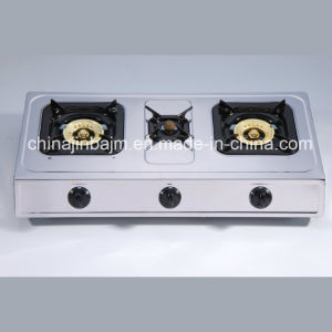 3 Burners Stainless Steel 710mm Length Iron Steel Cap Gas Cooker/Gas Stove pictures & photos