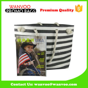 Hot Selling Lady Tote Canvas Cotton Black and White Stripe Carrier Bags pictures & photos