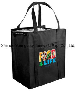 Custom Logo Printed Black Non-Woven Insulated Cooler Shopping Bag pictures & photos