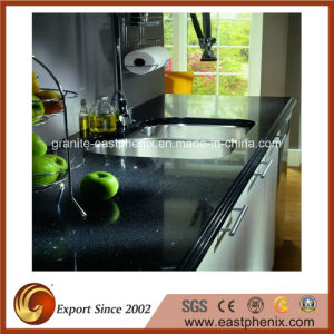 Natural Black Quartz Stone Kitchen Countertop pictures & photos